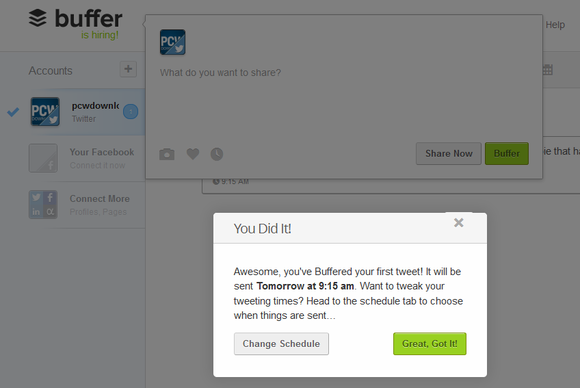 Buffer first tweet scheduled