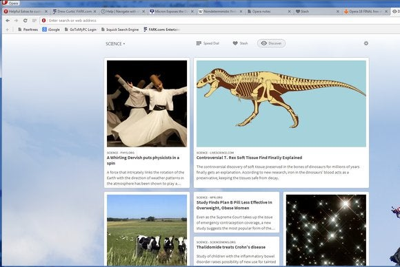 Opera 18 screenshot Discover feature
