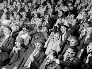 Crowd at 3D movie