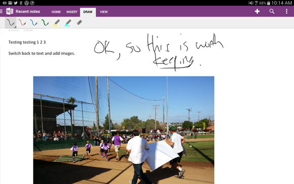 OneNote for Android adds handwriting support