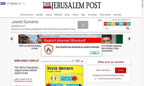 the jerusalem post malware ads