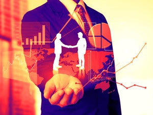 business data employees workers graphs charts cooperate handshake