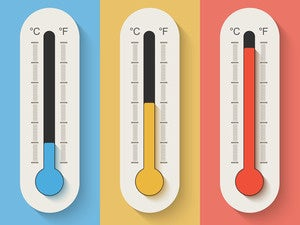 thermometers cold warm hot temperature