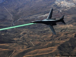 HELLADS laser carried by B-1 bomber, artist's conception.
