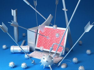cyberattack laptop arrows war fight