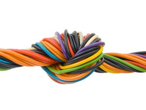 colorful network wires tied in a knot