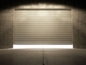 industrial garage door partially opened