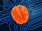 artificial intelligence concept with brain on digital circuitry
