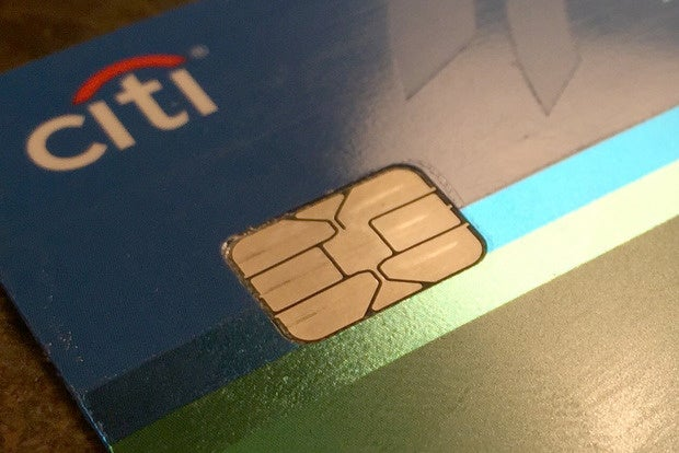 Citibank credit card with an EMV chip