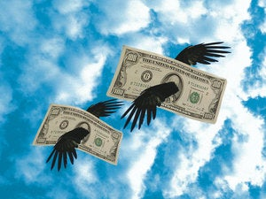 money flying away loosing broke bankrupt