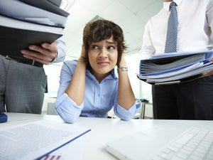 stressed women overworked overload yell burden
