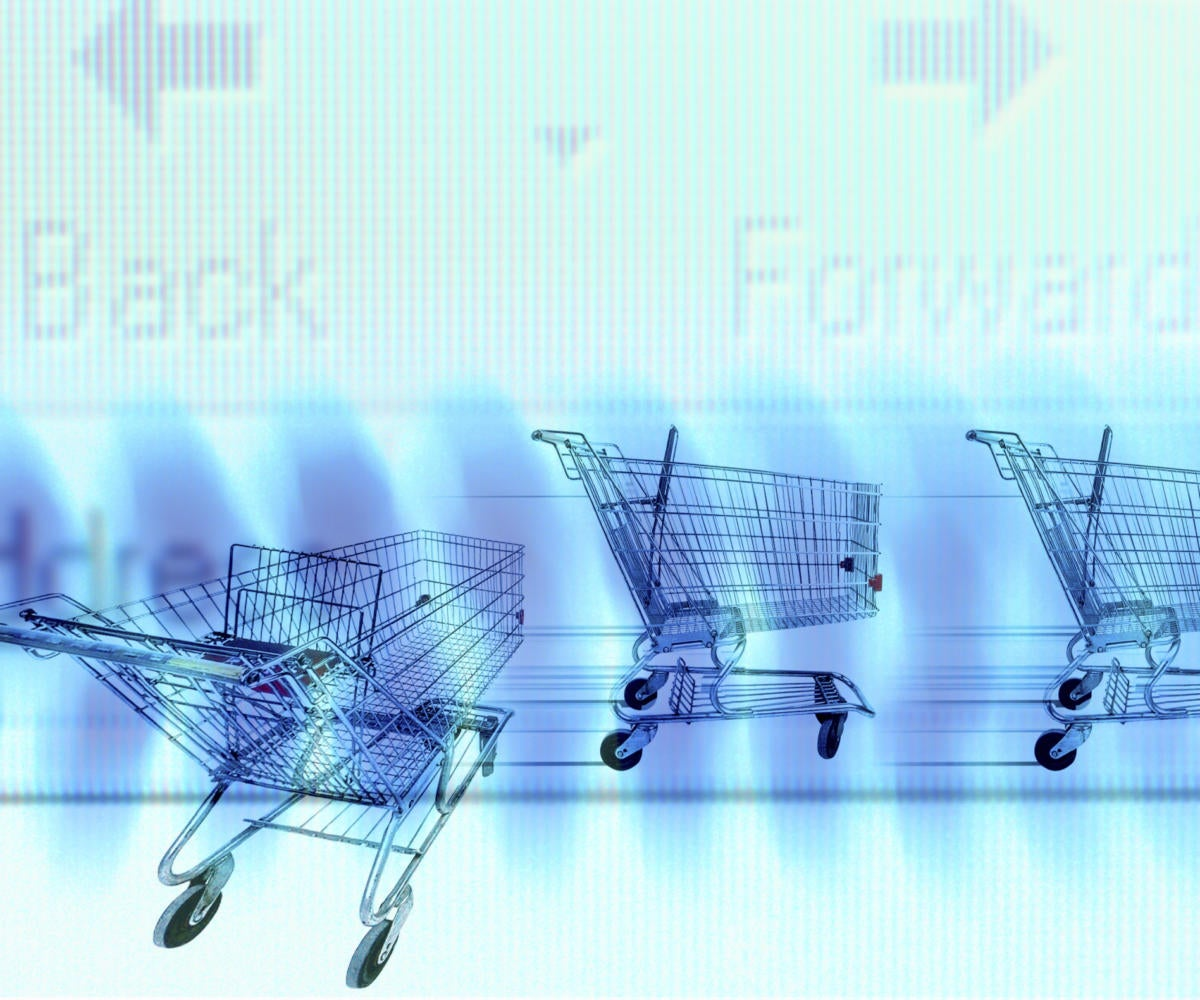 graphic shopping carts traveling in a row on blue background