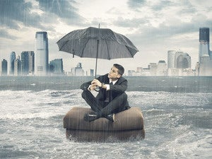 storm businessman clouds rain rough seas