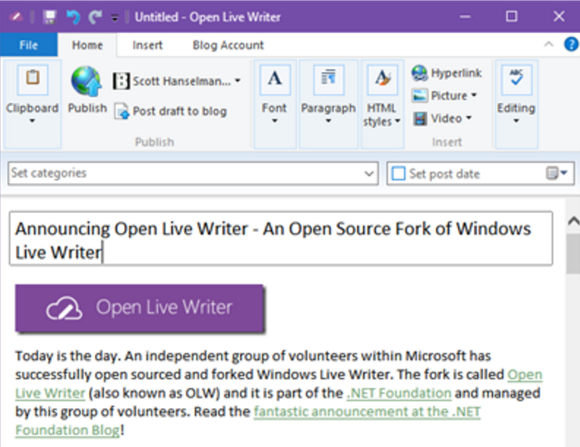open live writer announce