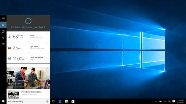 cortana search windows10