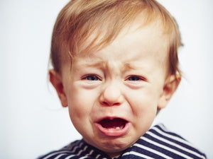 crying whining baby after tantrum