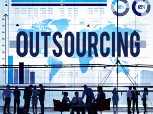 outsourcing global map and workers